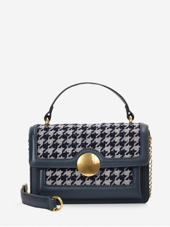 shops Round Buckle Houndstooth Print Tote Bag - SLATE BLUE