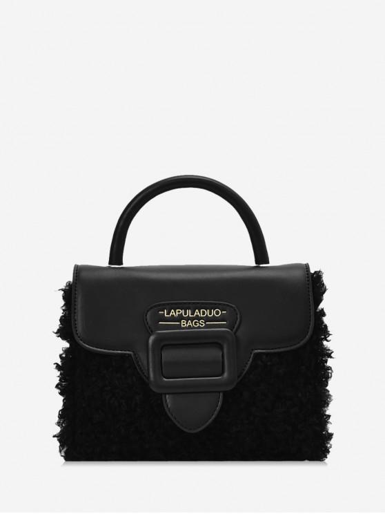 fancy Top Handle Leather Panel Plush Crossbody Bag - BLACK