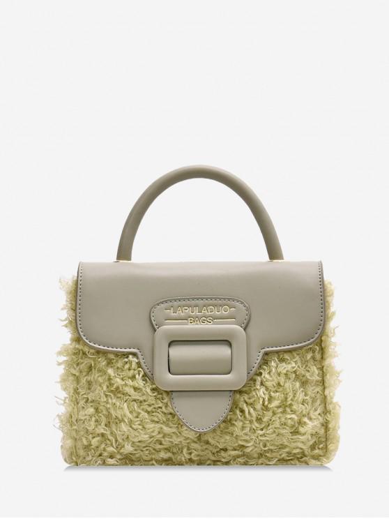 women Top Handle Leather Panel Plush Crossbody Bag - LIGHT GREEN