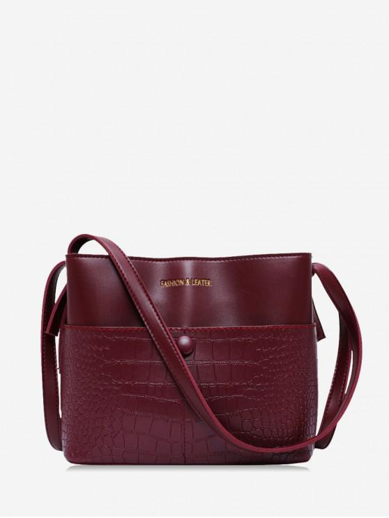 outfits Animal Embossed Leather Bucket Bag - RED WINE