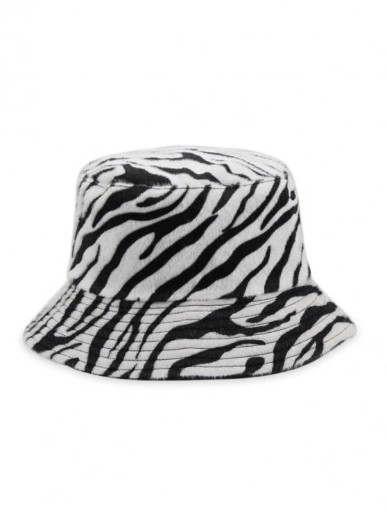 Sombrero de Piel Sintética Cubo con Estampado de Cebra - Blanco