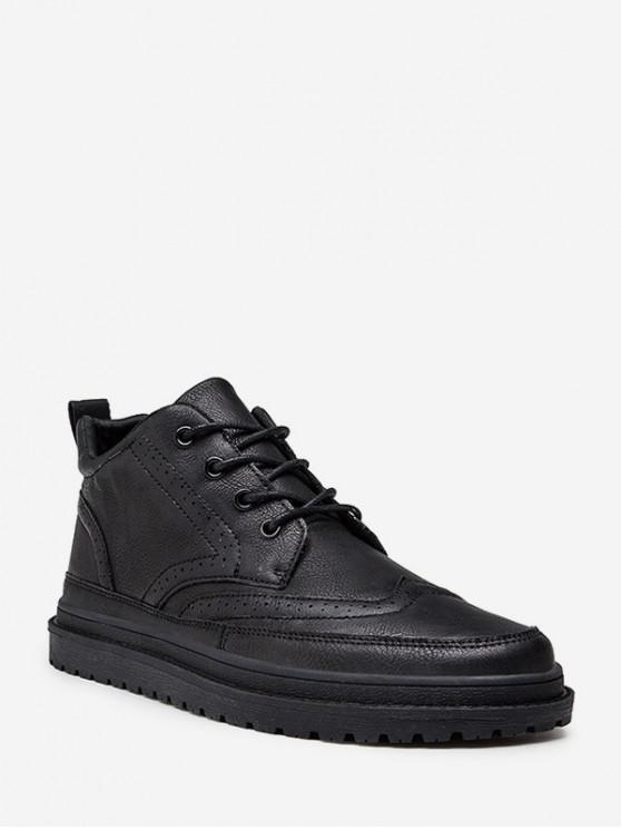 online British Style Wingtip Lace Up Ankle Boots - BLACK EU 43