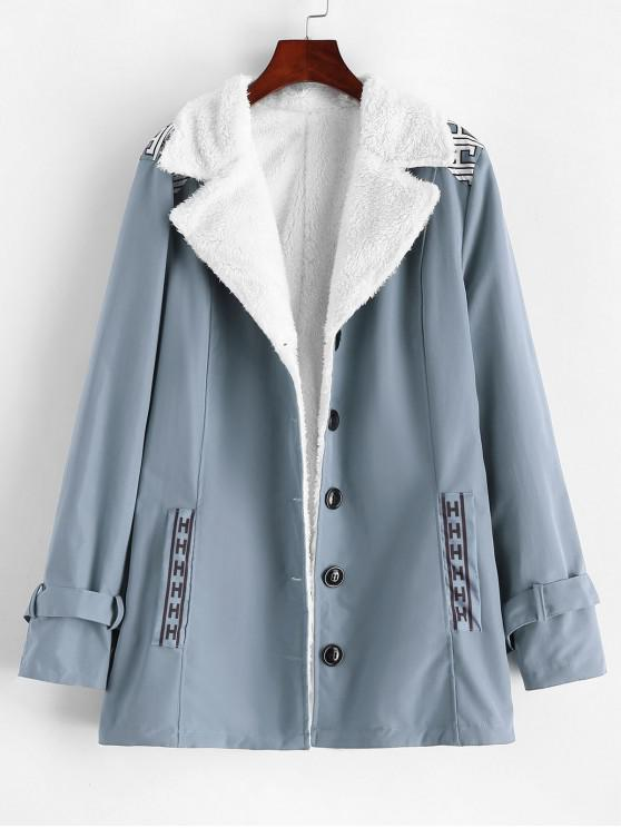 affordable Graphic Faux Shearling Lining Coat - LIGHT BLUE S