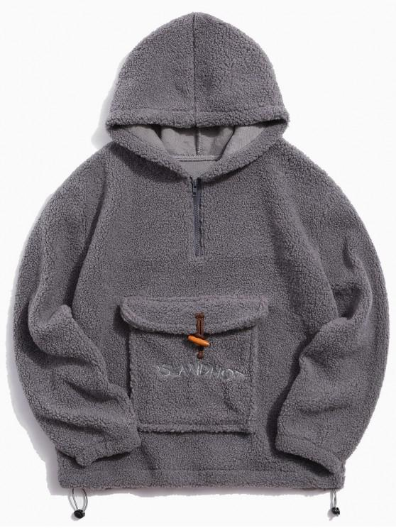 sale Letter Pattern Quarter Zip Casual Hoodie - LIGHT GRAY M