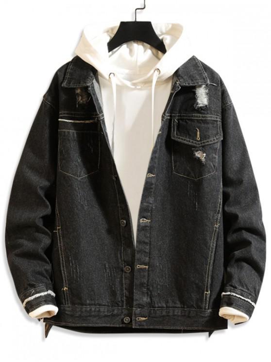 fashion Solid Color Ripped Design Denim Jacket - BLACK L