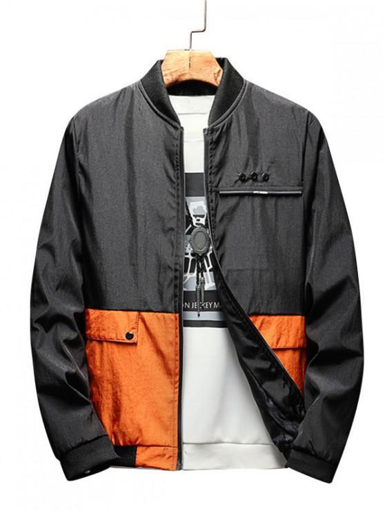 fancy Colorblock Printed Zip Up Casual Jacket - ORANGE S
