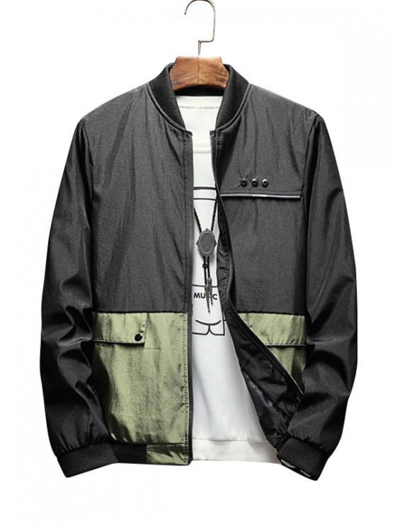 ladies Colorblock Printed Zip Up Casual Jacket - ARMY GREEN M