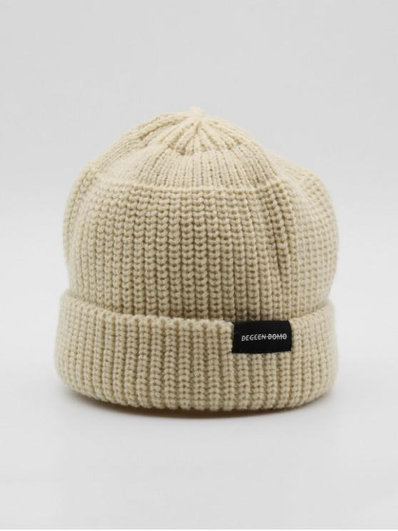 online Casual Solid Turn Up Edge Knitted Hat - WARM WHITE
