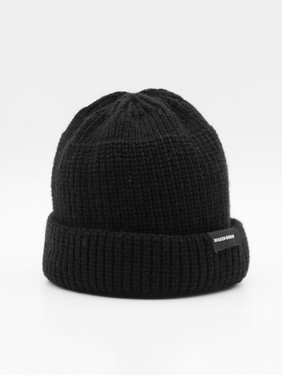 trendy Casual Solid Turn Up Edge Knitted Hat - BLACK