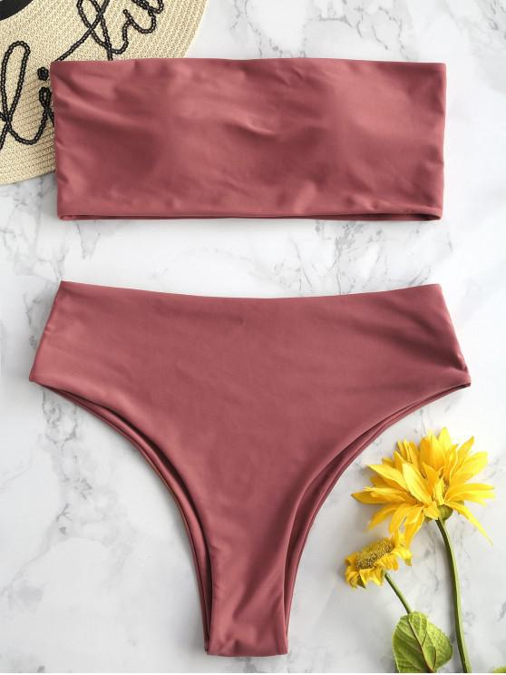 unique ZAFUL High Waisted Bandeau Bikini Set - CHESTNUT M