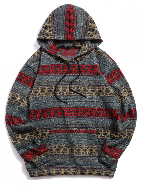 lady Ethnic Tribal Print Drawstring Knit Fleece Hoodie - DARK SLATE GREY M