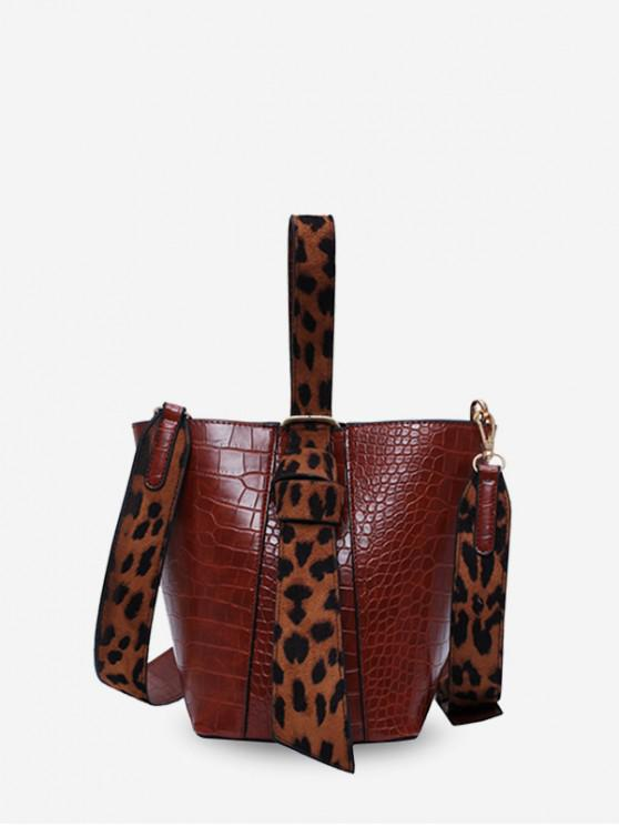 womens 2 Piece Animal Print PU Leather Handbag Set - BROWN