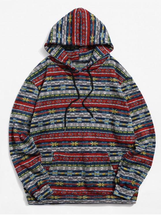 ladies Floral Tribal Graphic Drawstring Knit Fleece Hoodie - MULTI-A S