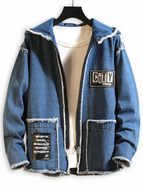 latest Graphic Pattern Zip Up Denim Jacket - DENIM DARK BLUE XS