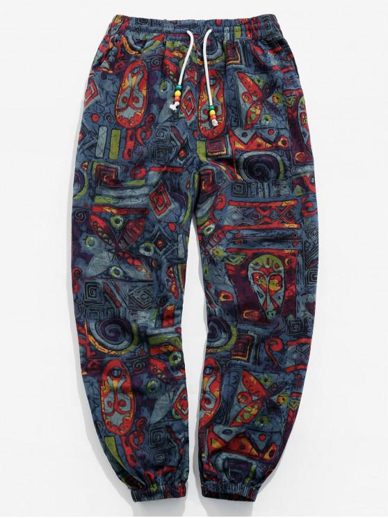 Popular Sale Novelty Printed Drawstring Casual Pants   Multi M by Zaful