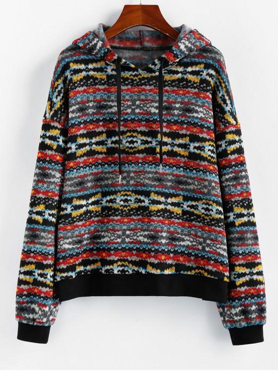 women's ZAFUL Printed Drop Shoulder Pullover Hoodie - MULTI L