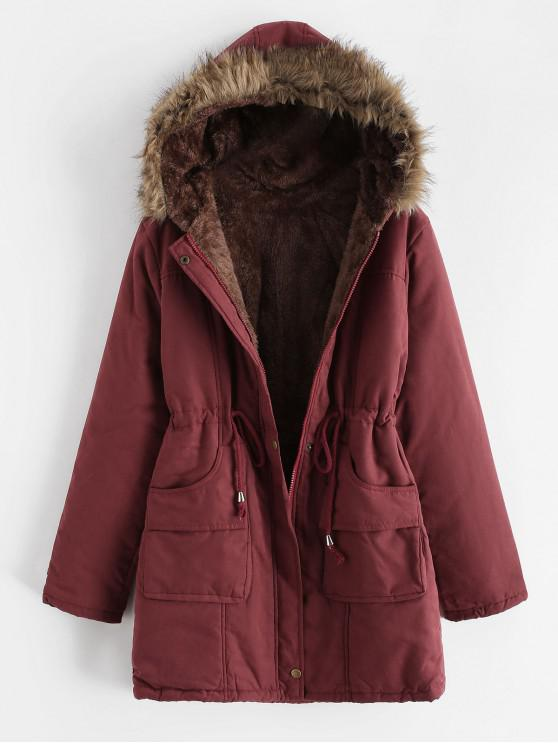 chic Faux Fur Pocket Zip Drawstring Parka Coat - RED 2XL