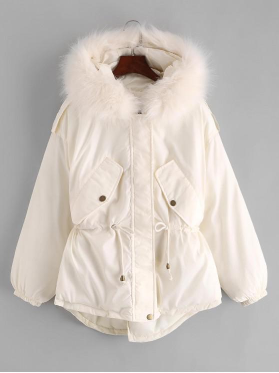 affordable Waist Drawstring Epaulet Parka Coat - WHITE S