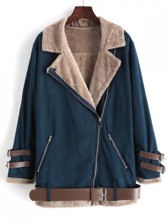 ladies Zip Front Buckle Belted Fur Line Jacket - DEEP BLUE 2XL
