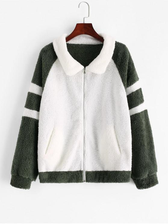hot Zip Front Colorblock Raglan Sleeve Teddy Jacket - MULTI-A M