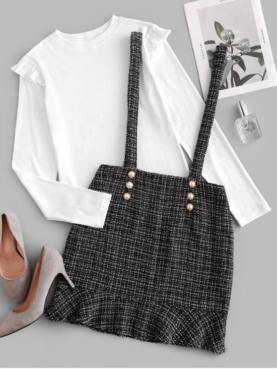 sale Ruffles Buttons Tweed Suspender Skirt Set - MULTI M