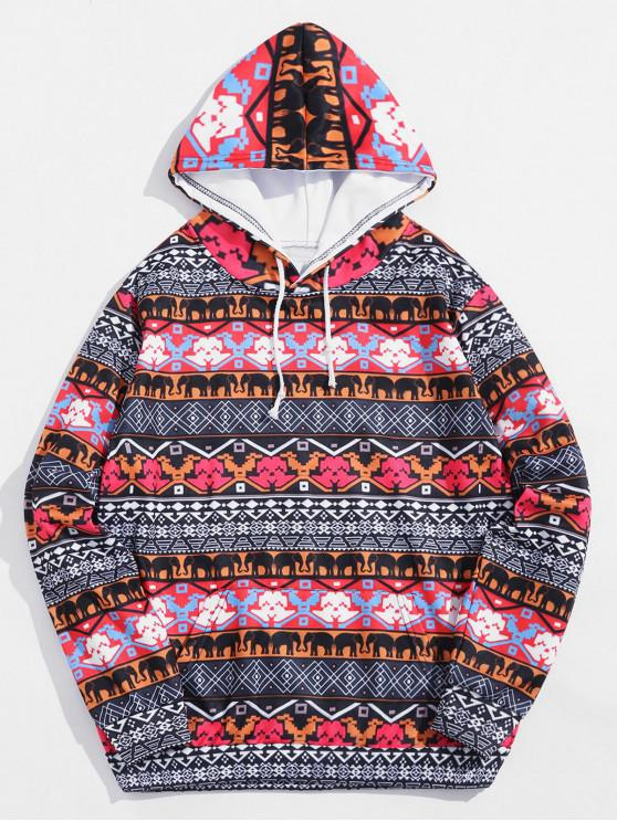 outfit Tribal Animal Geometric Print Drawstring Hoodie - MULTI-A 4XL