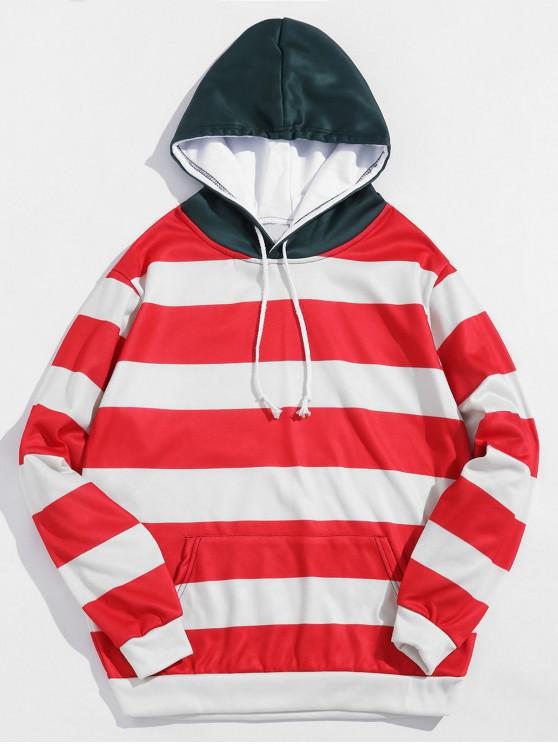 fashion Color Blocking Stripes Print Fleece Hoodie - RED 4XL