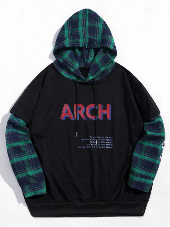 latest Letter Print Plaid Spliced Faux Twinset Hoodie - BLACK 2XL