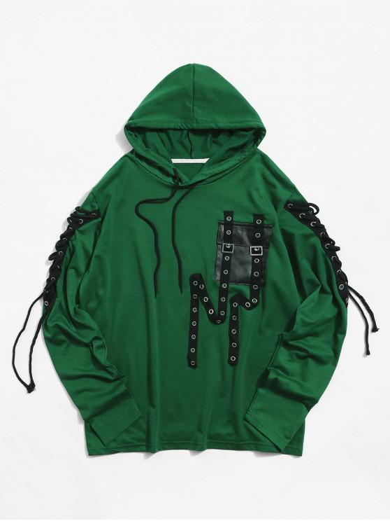 outfits Hollow Out Strap Decorated Pocket Hoodie - DEEP GREEN 2XL