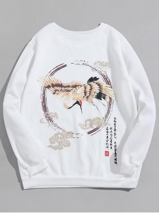 shops Flying Crane Letter Graphic Print Fleece Sweatshirt - WHITE 3XL
