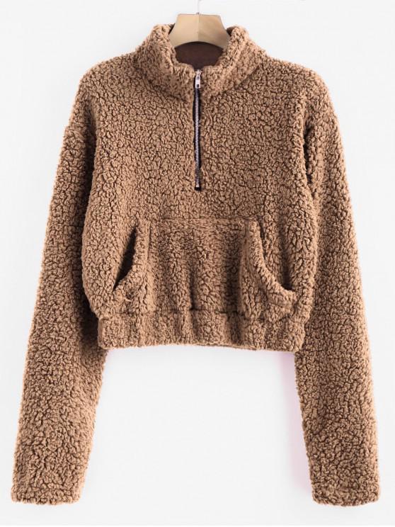 buy Half Zip Fluffy Faux Shearling Teddy Sweatshirt - LIGHT BROWN S