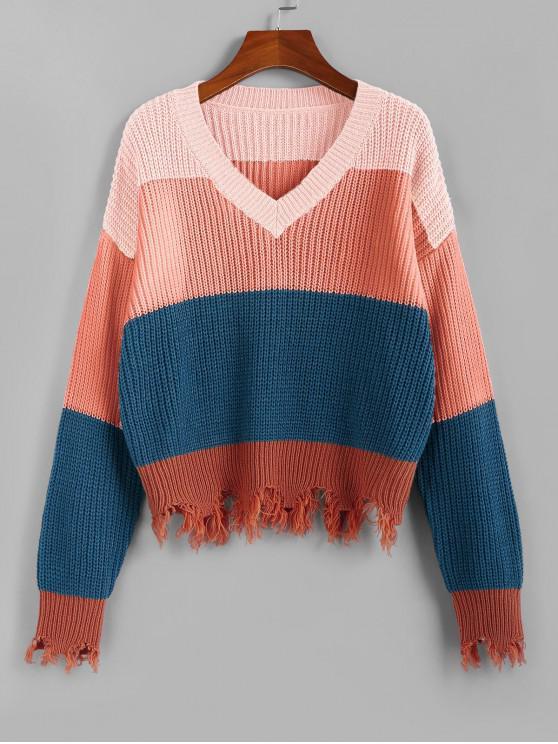 fancy ZAFUL Colorblock Frayed Sweater - LIGHT PINK L