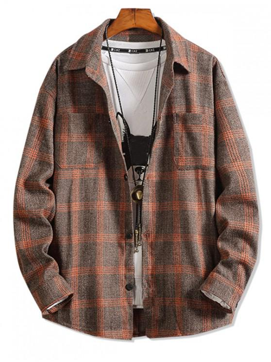 womens Plaid Pattern Pocket Design Long-sleeved Shirt - ORANGE 4XL