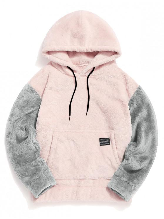 womens Color-blocking Pouch Pocket Fluffy Hoodie - PINK L