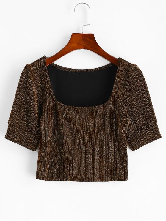 fancy ZAFUL U Neck Metallic Threads Cropped Tee - BLACK S