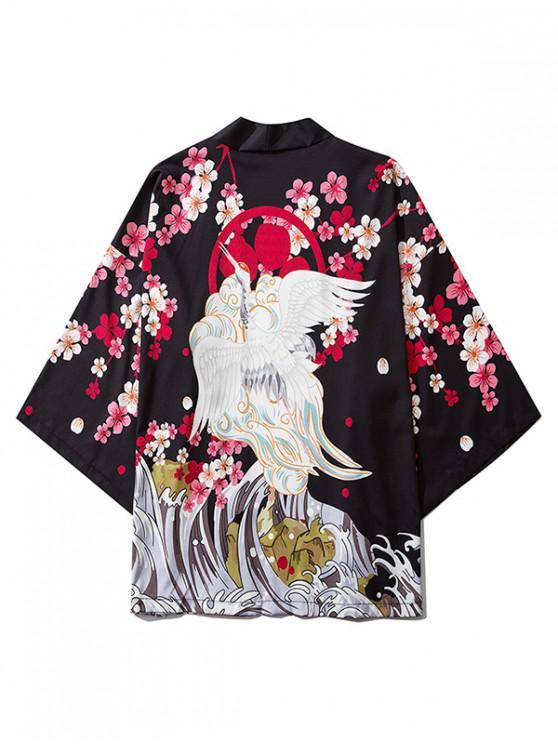 Floral gru volante Sea Waves Stampa anteriore aperto Kimono Cardigan - Nero L
