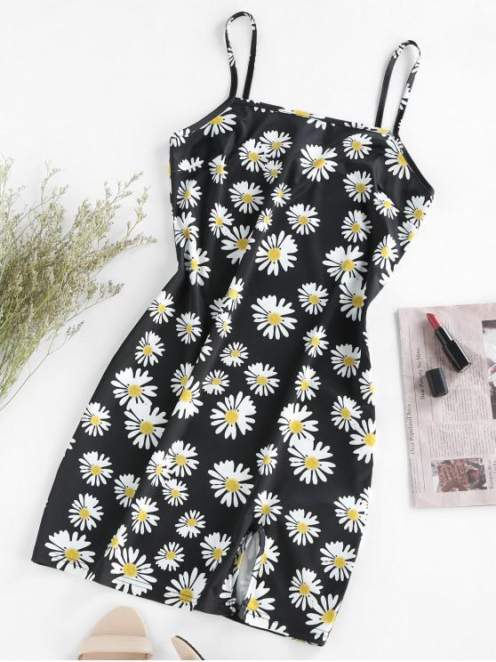 fancy ZAFUL Flower Slit Cami Bodycon Dress - BLACK XL