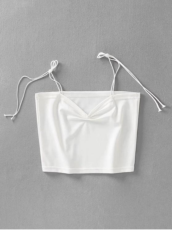 trendy Gathered Crop Tie Strap Tank Top - WHITE S