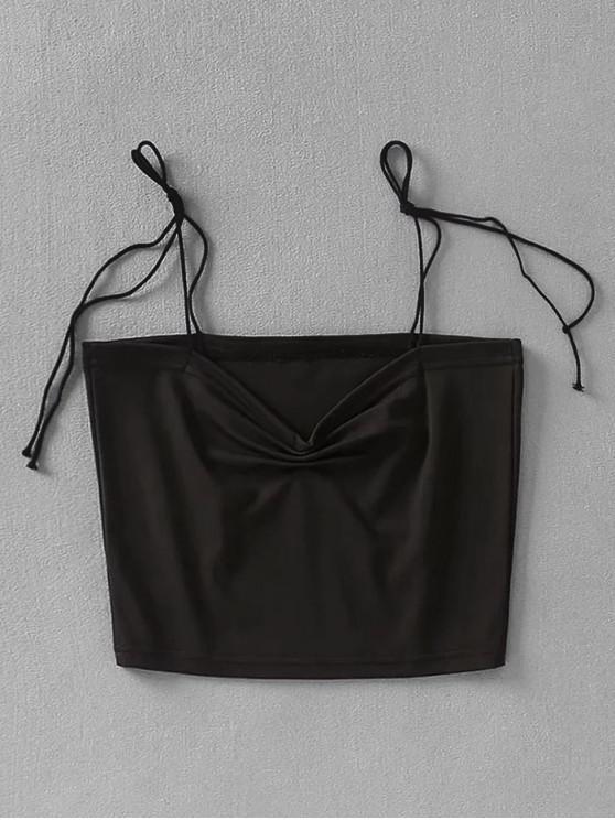 unique Gathered Crop Tie Strap Tank Top - BLACK S