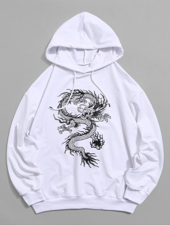 outfit Dragon Graphic Drawstring Loose Hoodie - WHITE M