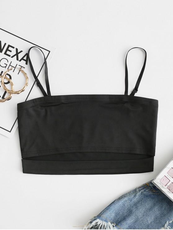 women's ZAFUL Cutout Plain Crop Camisole - BLACK L