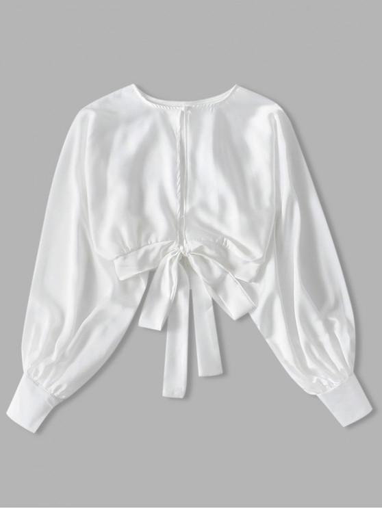 shop Knotted Back Crop Solid Blouse - WHITE M
