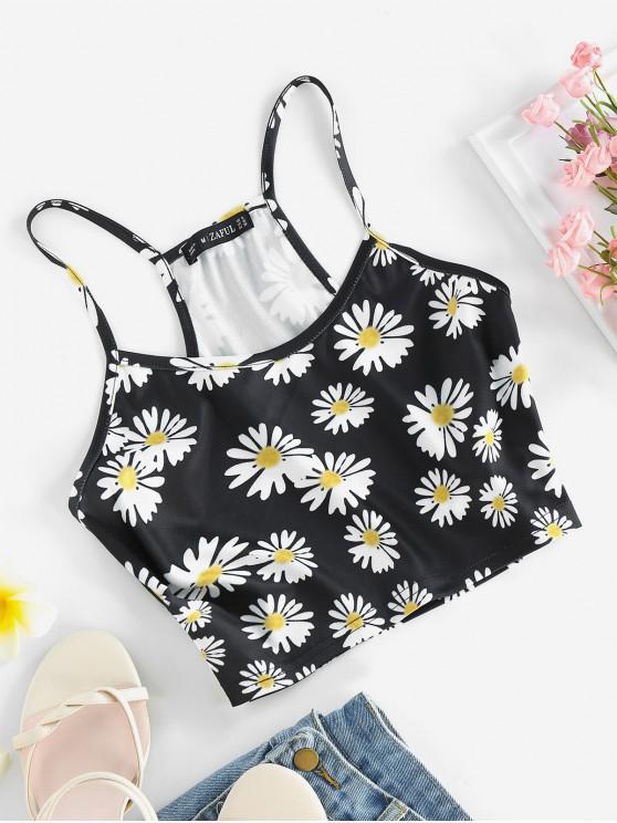 latest ZAFUL Flower Racerback Crop Camisole - BLACK XL