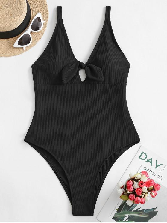 affordable ZAFUL Knot Ribbed One-piece Swimsuit - BLACK S
