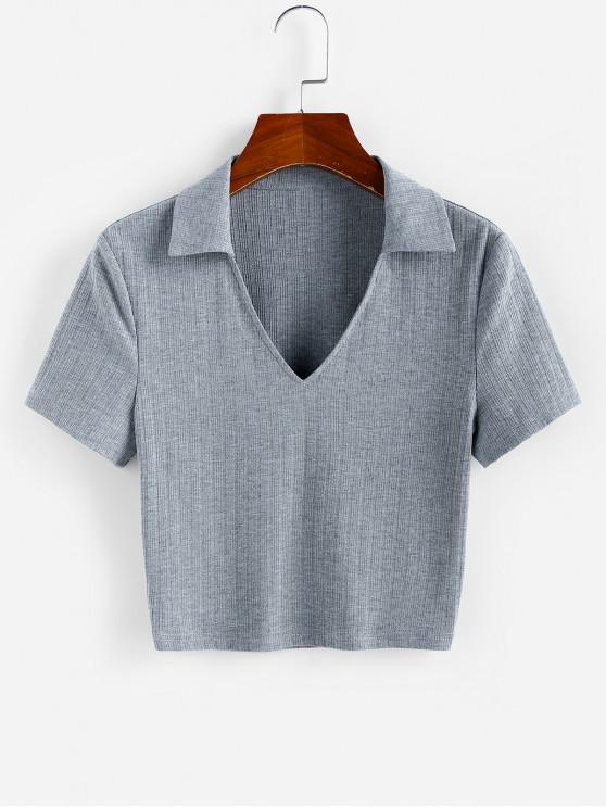 women ZAFUL Ribbed V Notched Crop T-shirt - DARK GRAY XL