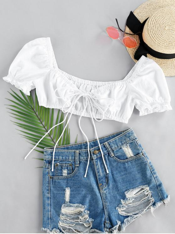 trendy ZAFUL Front Tie Puff Sleeve Crop Top - WHITE S