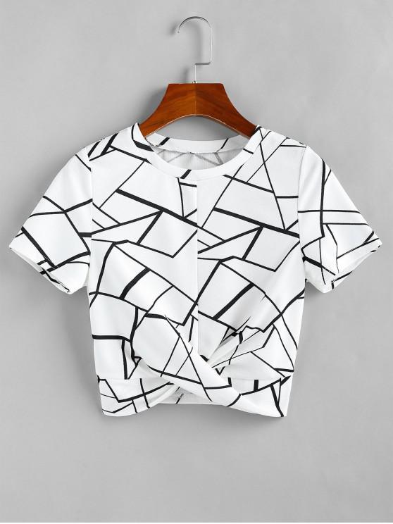 ZAFUL Camiseta de Figura Geométrica de Torção Cortada - Branco XL