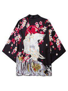 Floral Flying Crane Sea Waves Print Open Front Kimono Cardigan - Black 2xl