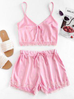 Lace Panel Knotted Satin Two Piece Suit - Pink S