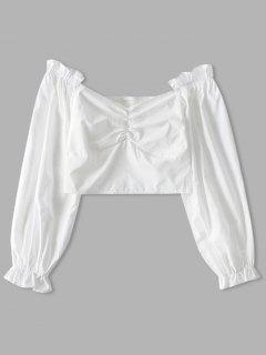 Blouse Courte Plissée Au Dos En Couleur Unie - Blanc S
